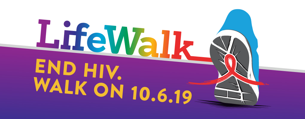 "rectangle divided into two parts where the top is white and the bottom is a light purple to dark purple gradient. There is an illustrated tennis shoe with a red ribbon on the sole and the text of ""LifeWalk End HIV. Walk on 10.6.2019"""